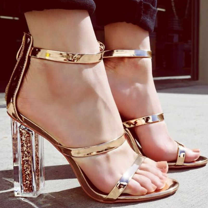 559a7ec40 Detail Feedback Questions about Fashion Women Open Toe Strappy Ankle Strap  Crystal Transparent Clear Sequined High heels Shoes Elegant Thick Heels  Gold ...