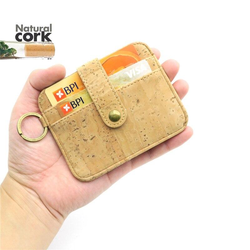 Natural cork snap button men slim wallet beige handmade card holder men's vegan wallets father gift Bag-107