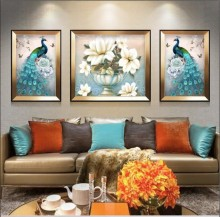European vintage hand painted peacock flowers magnolia vase modern abstract Nordic decorative painting material triplets