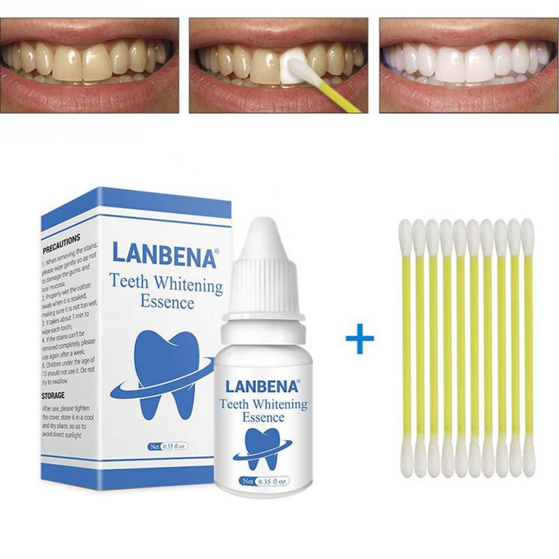 LANBENA Teeth  Essence Powder Oral Hygiene Cleaning Serum Removes Plaque Stains Tooth Bleaching Tool With Cotton Sticks