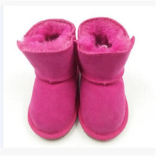 Fur sheepskin boots baby shoes outdoor children baby toddler shoes with bottom
