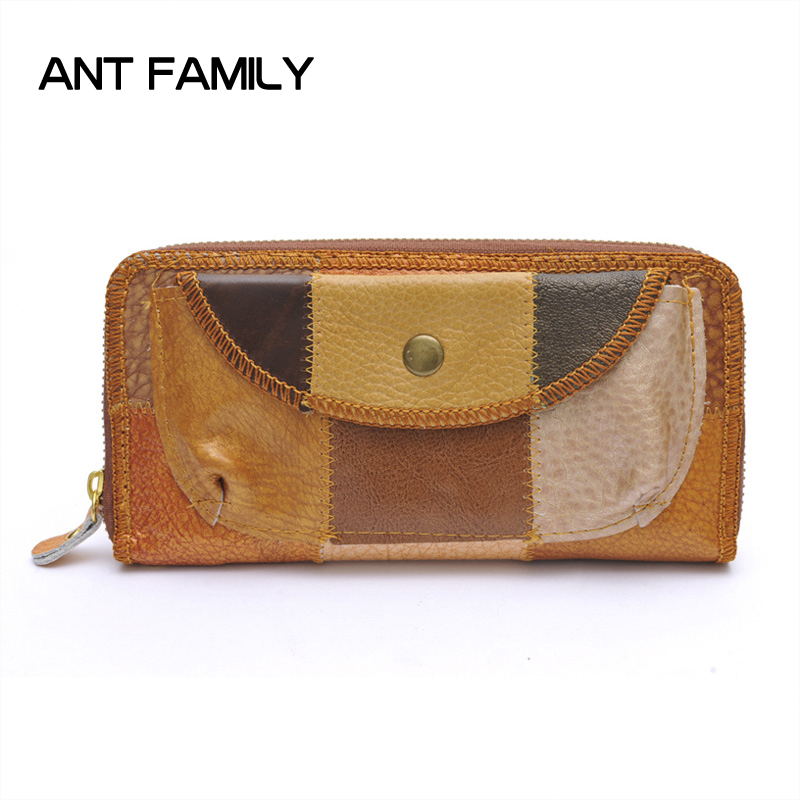 Genuine Leather Wallet Female Luxury Brand Wallet Women Long Zipper Coin Purse 2018 Vintage Card Holder Wallets Clutch Bag luxury brand vintage handmade genuine vegetable tanned cow leather men women long zipper wallet purse wallets clutch bag for man