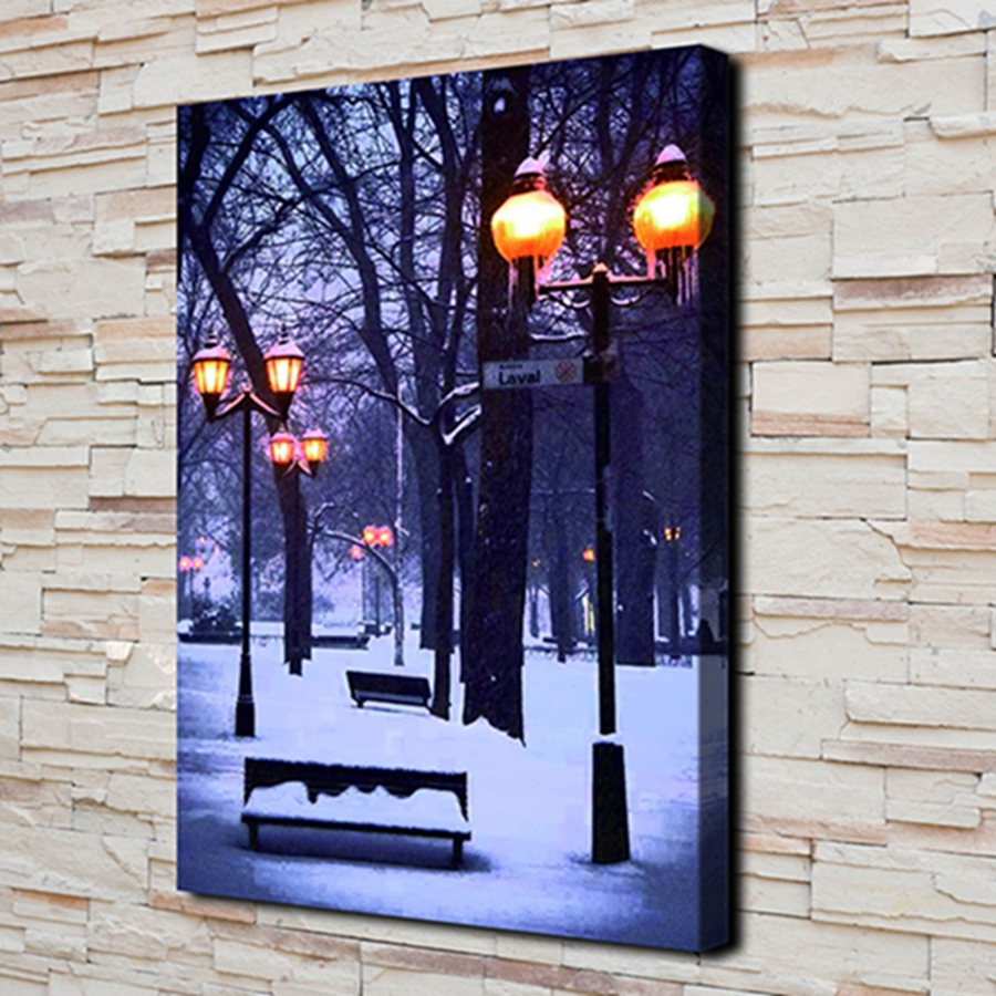 Home & Garden Methodical H2141 Christmas Gift Night Scene Lamp Hd Canvas Print Home Decoration Living Room Bedroom Wall Pictures Art Painting Christmas