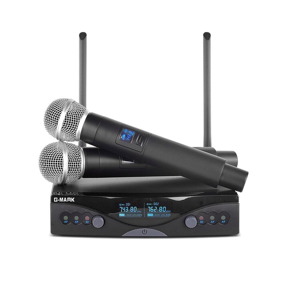 G-MARK Sans Fil Système de Microphone UHF Longue Portée Double Canal 2 De Poche Mic Émetteur Professionnel Karaoké Top Qualité