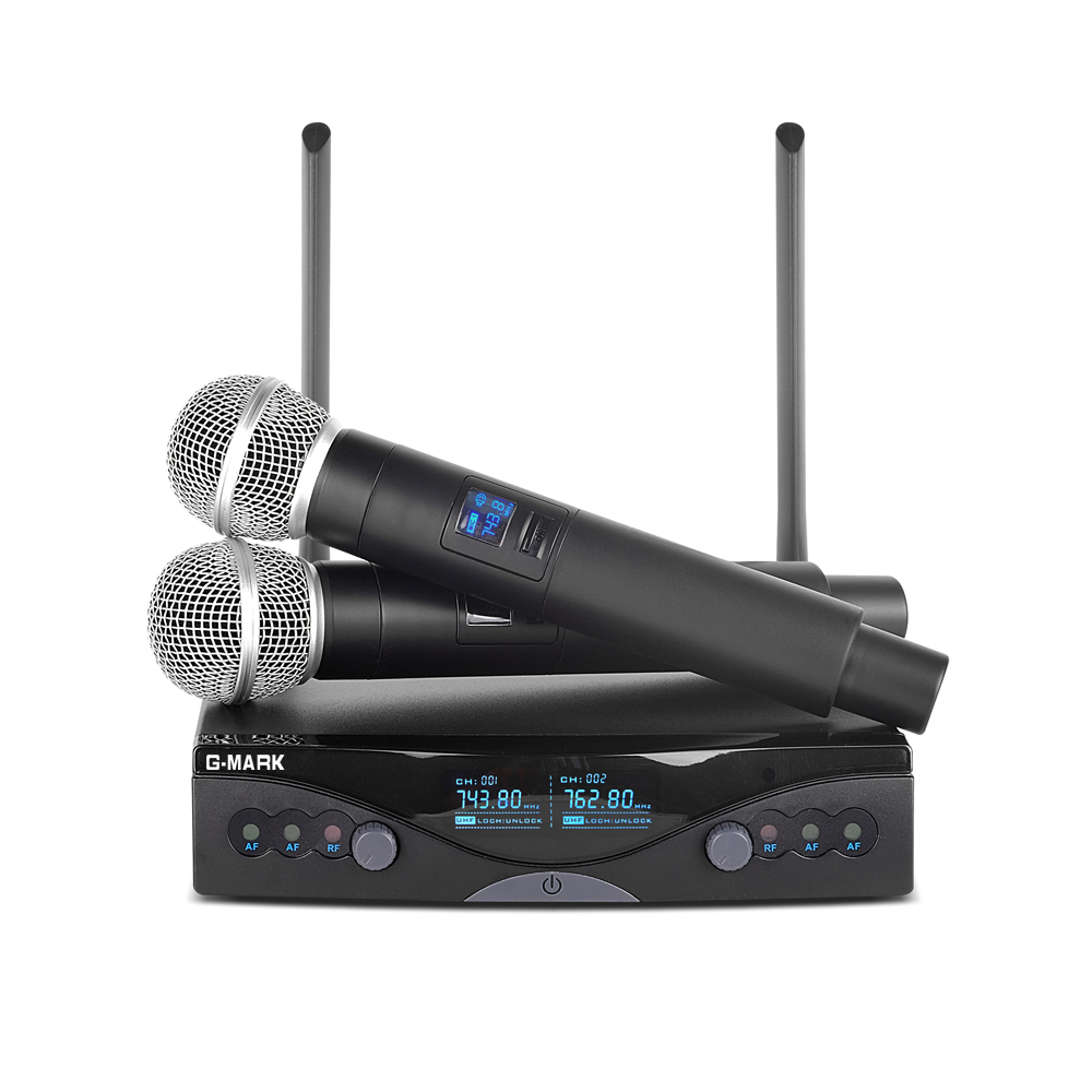 G-MARK Wireless Microphone System UHF Long Range Dual Channel 2 Handheld Mic Transmitter Professional Karaoke Top Quality free shipping professional uhf px24 b 58 karaoke wireless microphone system with super cardioid handheld transmitter microfono