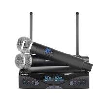 G-MARK Беспроводной микрофон Системы UHF долгосрочный Dual Channel 2 ручной микрофон передатчик профессиональный караоке Одежда высшего качества
