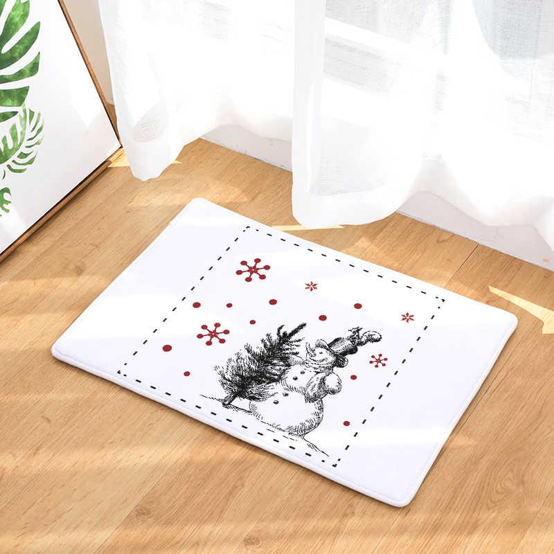 Bem-vindo tapete de natal felpudos banheiro cozinha tapete casa sala de estar tapete antideslizante 40x60cm 50x80cm