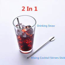 Yooap 2 In 1 Creative Drinking Straw and Mixing Cocktail Stirrers Sticks Reusable Stainless Steel Pro Tea Tools Bar Accessories