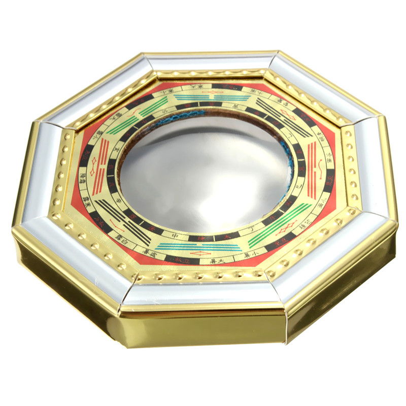 clsico chino feng shui bagua convex espejo de madera lmina de oro metlico mirror expulsar a