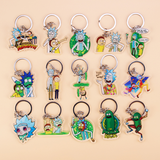 Cute Anime Cartoon Rick And Morty Keychain Acrylic Key Chain Women and Men Kids Key Ring Gift Porte Clef 1