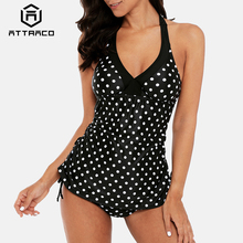 купить Attraco Women Tankini Set Colorblock Swimwear Side Bandages Polka Dot Swimsuit Padded Bandage Bathing Suit недорого