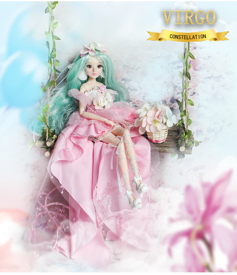 MMG Girl fortune days BJD doll 12 constellations virgo with pink dress shoes stand necklace Flower basket joint body toy gift