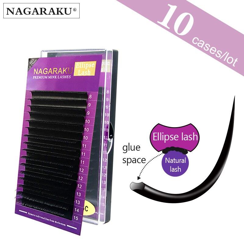 10 cases NAGARAKU B C D 8 15mm Mix length Ellipse Flat Eyelash Extensions Saving time