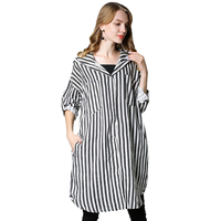 2017 Autumn New Medium Style Stripe Loose Shirt Long Sleeves Hooded Shirt Plus Size Women S