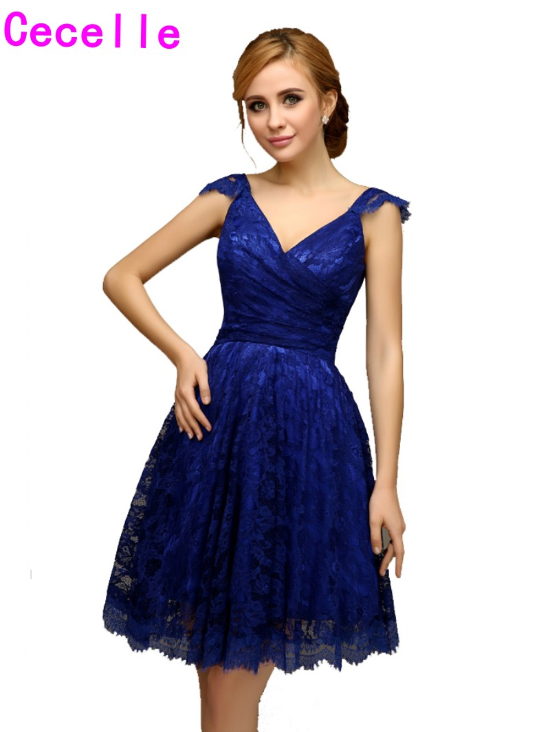 Popular vintage lace bridesmaid dresses knee length buy cheap 2017 real short royal blue lace bridesmaid dresses with straps vintage a line knee length ombrellifo Gallery