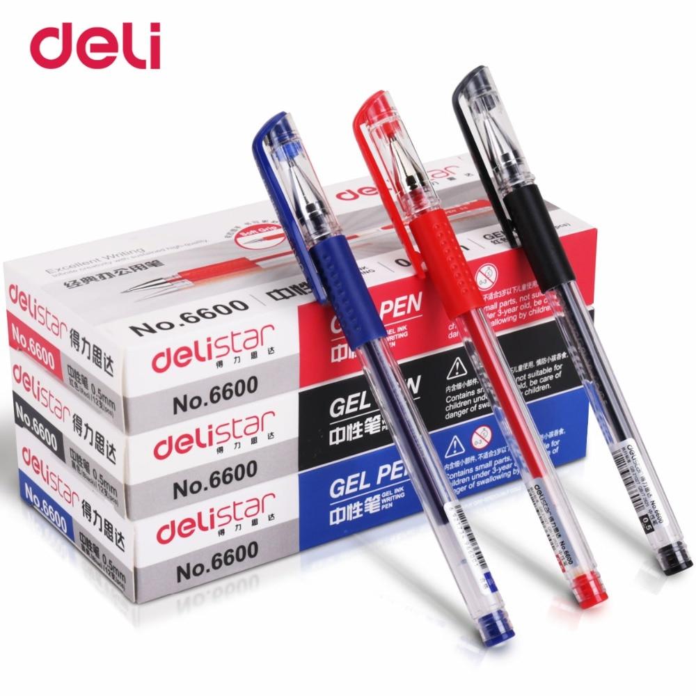 ONS. 7 dagen Gratis Verzending Deli 1 Pack 12 Pcs Dunne penpunt 0.5mm Naalden Gel Pen School Officn - 6