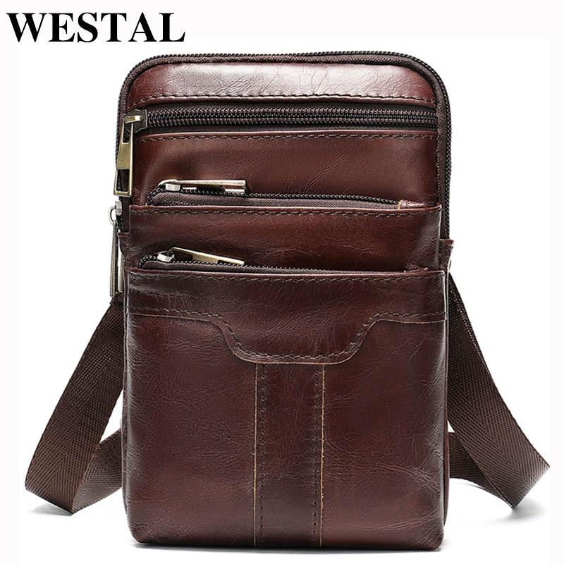 WESTAL Male Fanny Pack Men's Belt Bag For Phone Men's Waist Bag Genuine Leather Sling Bags Waist Pack Small Money Bags Belt 8326