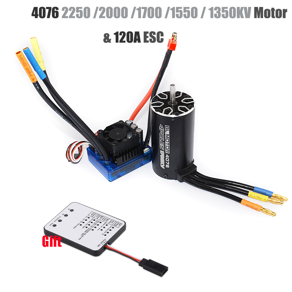 4076 2250KV 2000KV 1700KV 1550KV Sensorless Brushless Motor 120A ESC With LED Programming Card Combo Set For 1/8 RC Car Truck