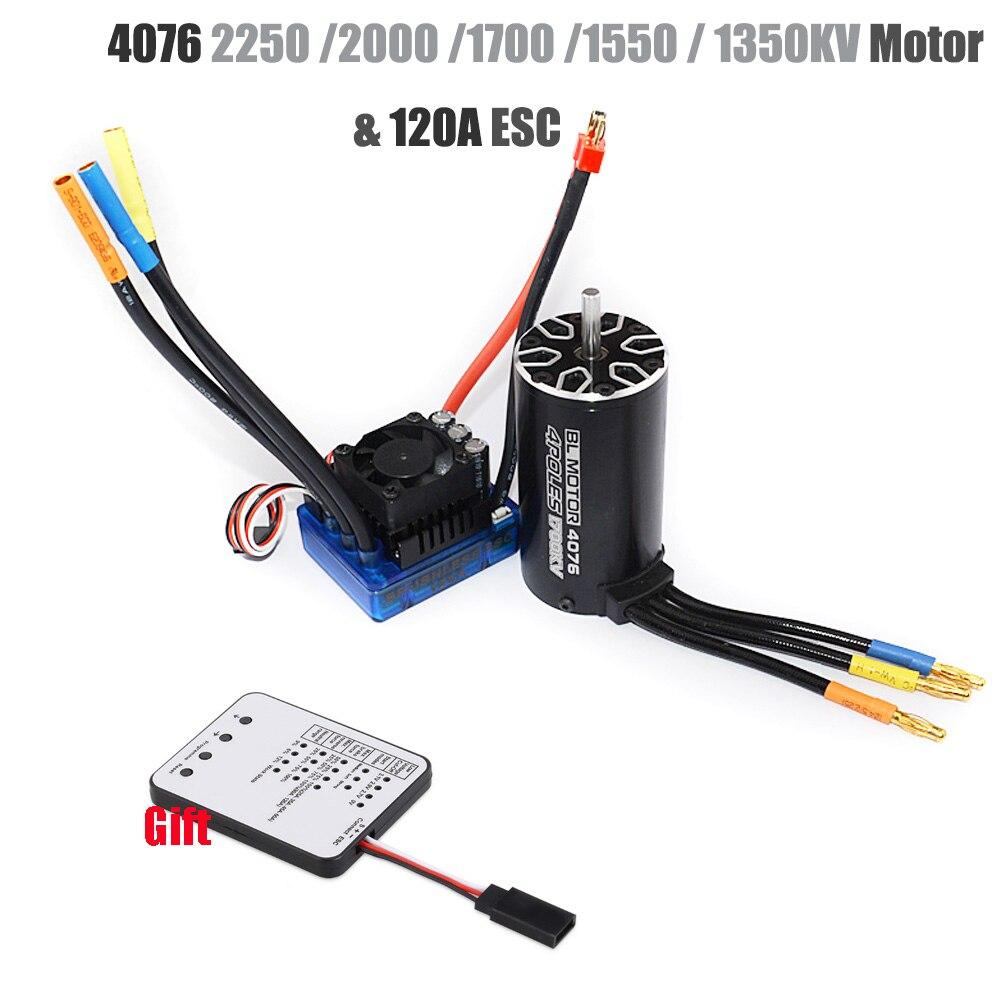 4076 2250KV 2000KV 1700KV 1550KV Sensorless Brushless Motor 120A ESC With LED Programming Card Combo Set For 1/8 RC Car Truck