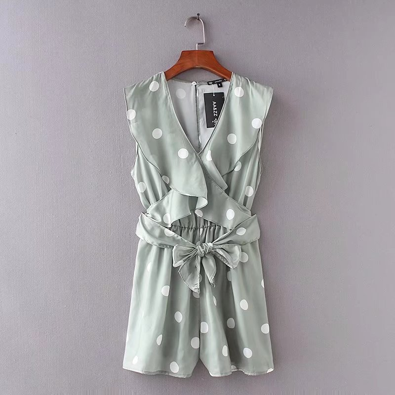 Women Vintage V Neck Ruffles Polka Dot Printing  Jumpsuits Lady Elastic Waist Sashes Slimming Rompers Playsuit Casual Tops DS824