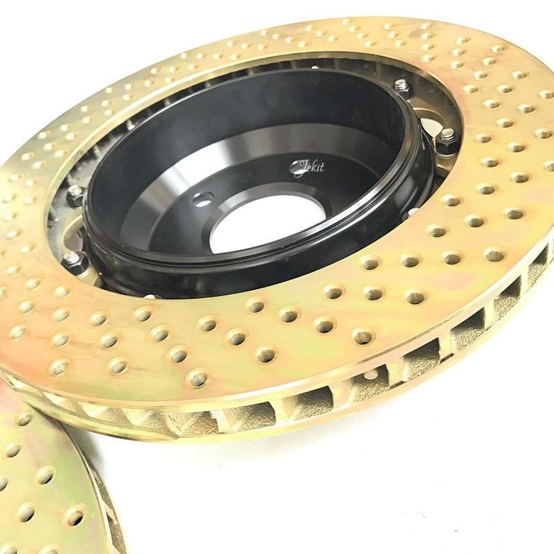 Jekit Rear brake disc 345*28mm drilled brake rotors with Plum flower center cap brake drum 180mm for BMW E38 rear