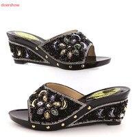 doershow shoes woman high heels shoes elegant sexy FLOWER summer shoes women sandals BLACK color African shoes KGB1 11