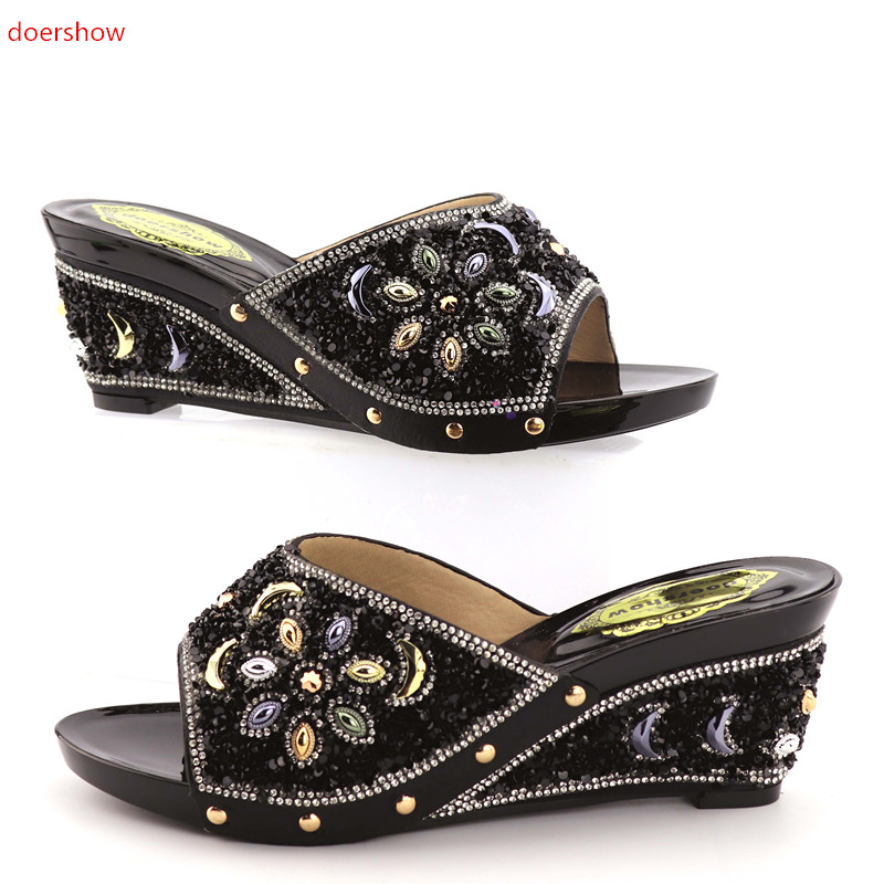 doershow shoes woman high heels shoes elegant sexy FLOWER summer shoes women sandals BLACK color African shoes KGB1-11 doershow women slipper elegant african women sandals shoe for party african wedding low heels slip on women pumps shoes abs1 5