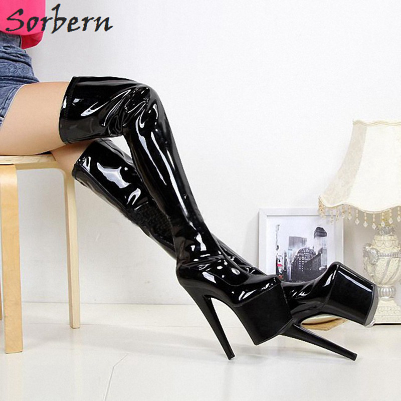16712d765db Sorbern 20Cm Sexy Fetish High Heel Boots Women 10Cm Platform Sexy Thigh  High Boots For Women Bota Feminina Punk Shoes ...