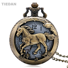 Best verkopende holle paard Vintage Retro bronzen Quartz zakhorloge met ketting voor Man vrouw Fob horloges Unisex geschenken