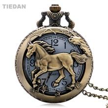 Top Jual Kuda Berongga Vintage Retro Perunggu Quartz Pocket Watch dengan Rantai Kalung untuk Pria Wanita Fob Jam Tangan Hadiah Unisex