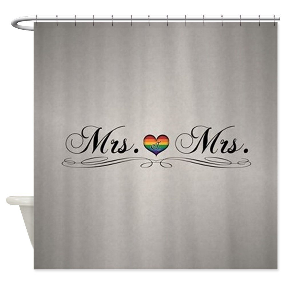 Mrs  Mrs Lesbian Pride Shower Curtain Decorative Fabric Shower Curtain 69-4567