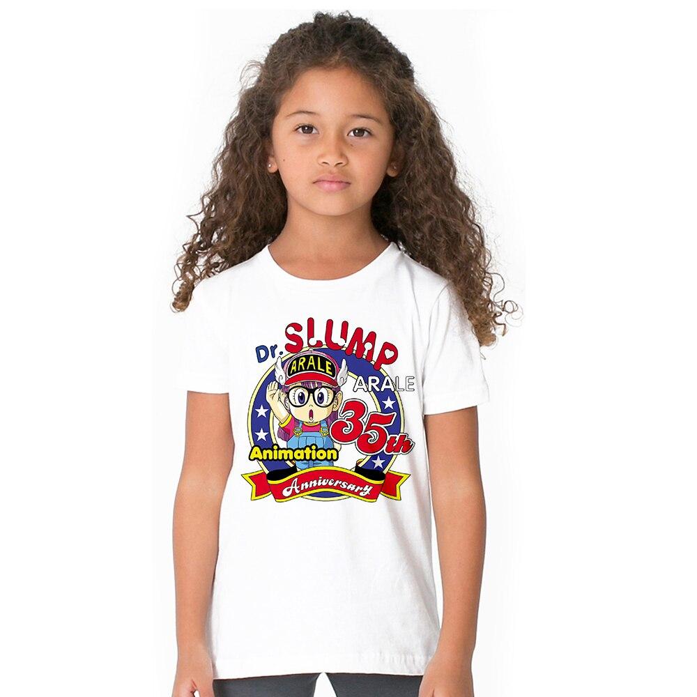 Baby toddler girl summer t shirt arale dr slump mr poop anime children girl t shirt cute angel wings cosplay tshirt for kids tee