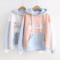 2018 Long Sleeve Harajuku Cat Women Hooded Sweatshirt Pullover Female Winter Bts Kpop Sweat Pink White Sweatshirt