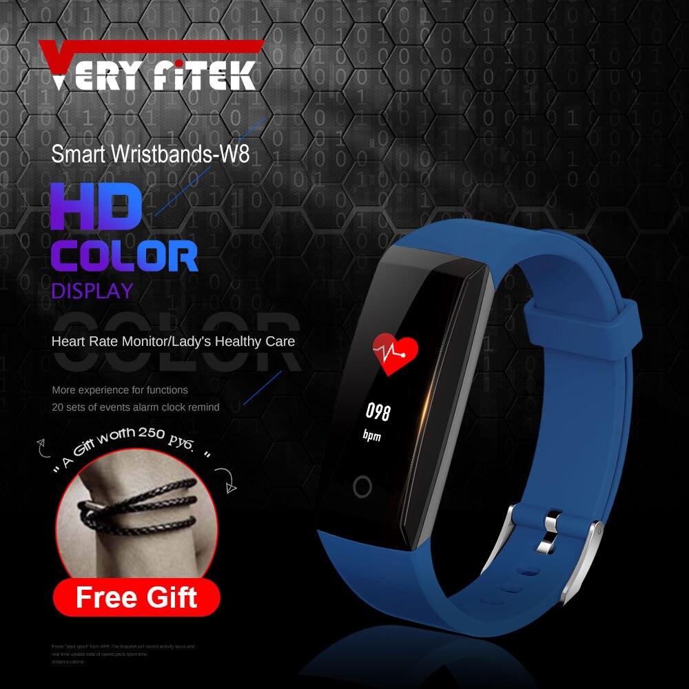 VERYFiTEK W8 Smart Bracelet Color Screen Heart Rate Monitor Woman Fitness Watch Tracker Pedometer Smart Wristband Bracelets