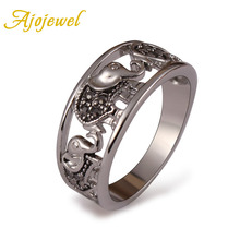 Free shipping 18k white gold plated exaggerated ringe bijoux fashion elephant finger rings