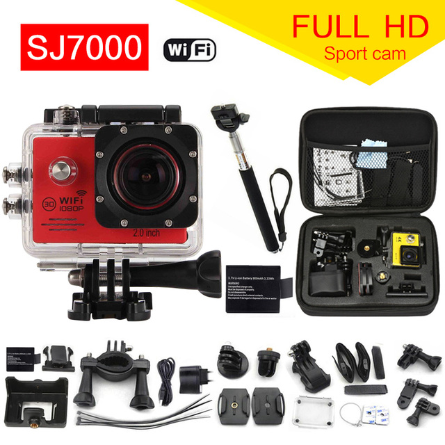Action Camera 1080P WiFi  go pro Sport camera extreme Diving Helmet Waterproof mini Cam+monopod+bag 7000