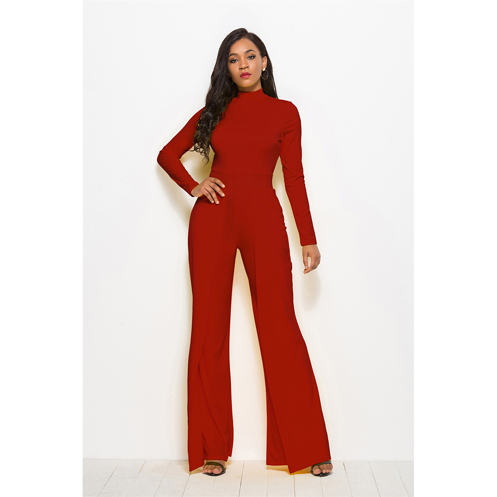 Solid Long Sleeve Jumpsuit Women Casual O Neck Wide Legs Slim Rompers Women's Jumpsuit Elegant Office Lady Jumpsuit Overalls