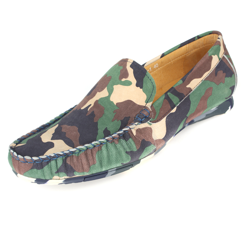 ФОТО 2017 New Summer Fashion Camouflage Moccasins Foot Men's Genuine Leather Casual Loafers Driving Shoes,Business Men Flat Shoes