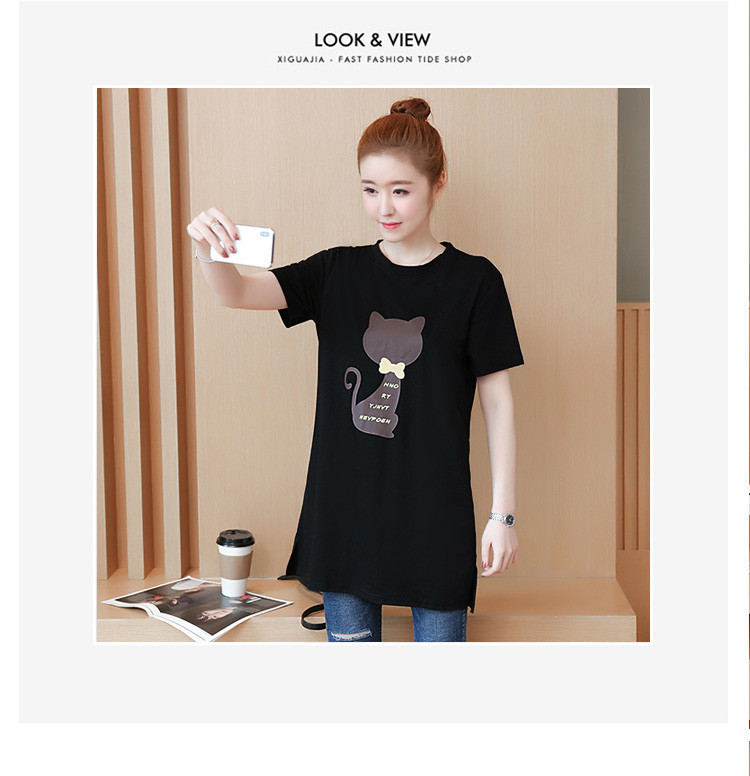 2018 Large size Women T-shirt dress summer Short sleeve Cats print Top Tees Casual O-neck Loose Female Tshirt Plus size 5XL J215 22