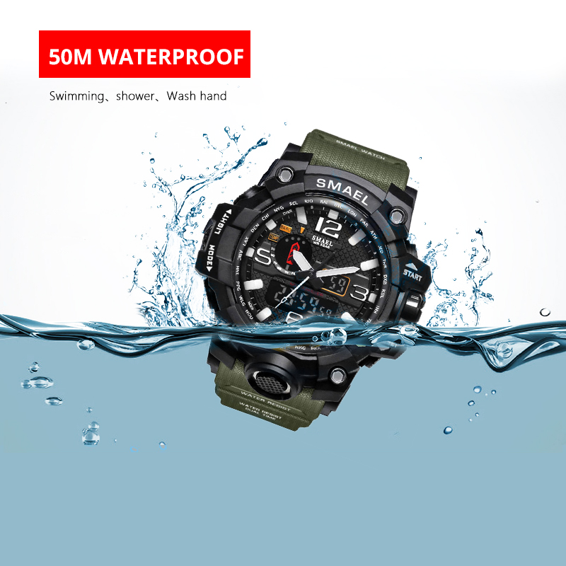 Men Military Watch 50m Waterproof Wristwatch LED Quartz Clock Sport Watch Male relogios masculino 1545 Sport Watch Men S Shock 3