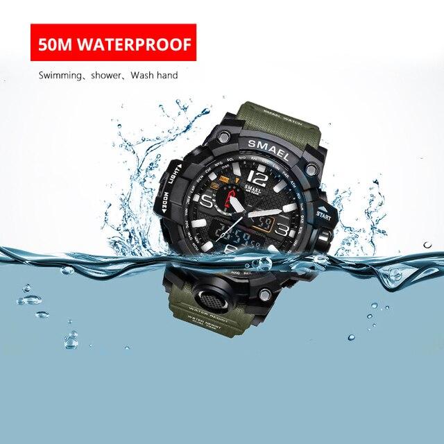 Men Military Watch 50m Waterproof Wristwatch LED Quartz Clock Sport Watch Male relogios masculino 1545 Sport Watch Men S Shock 3