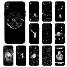 Space Moon Astronaut Case For iPhone XR XS Max X 11 Pro Cases Black Painted Phone Cover 7 8 7Plus 8Plus 6S 6Plus