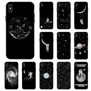 Space Moon Case For iPhone XR XS Max X 11 Pro Cases Black Painted Phone Cover For iPhone 7 8 7Plus 8Plus 6S 6Plus SE 2020 Case(China)