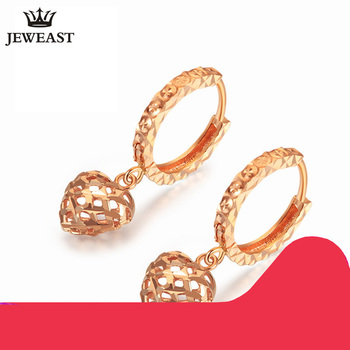 18K Pure Gold Earring Real AU 750 Solid Gold Earrings Good Beautiful Heart Upscale Trendy Classic Fine Jewelry Hot Sell New 2018