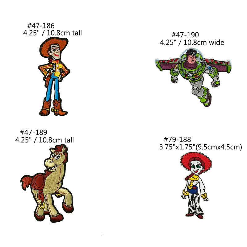 Toy Story Woody Horse Pixar  Buzz Lightyear Jessie the cowgirl applique Embroidered iron on patches for clothing