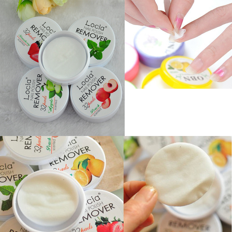 32 pcs Locia Nail Polish Remover Nontoxic Fruit Flavor Cotton Nail ...