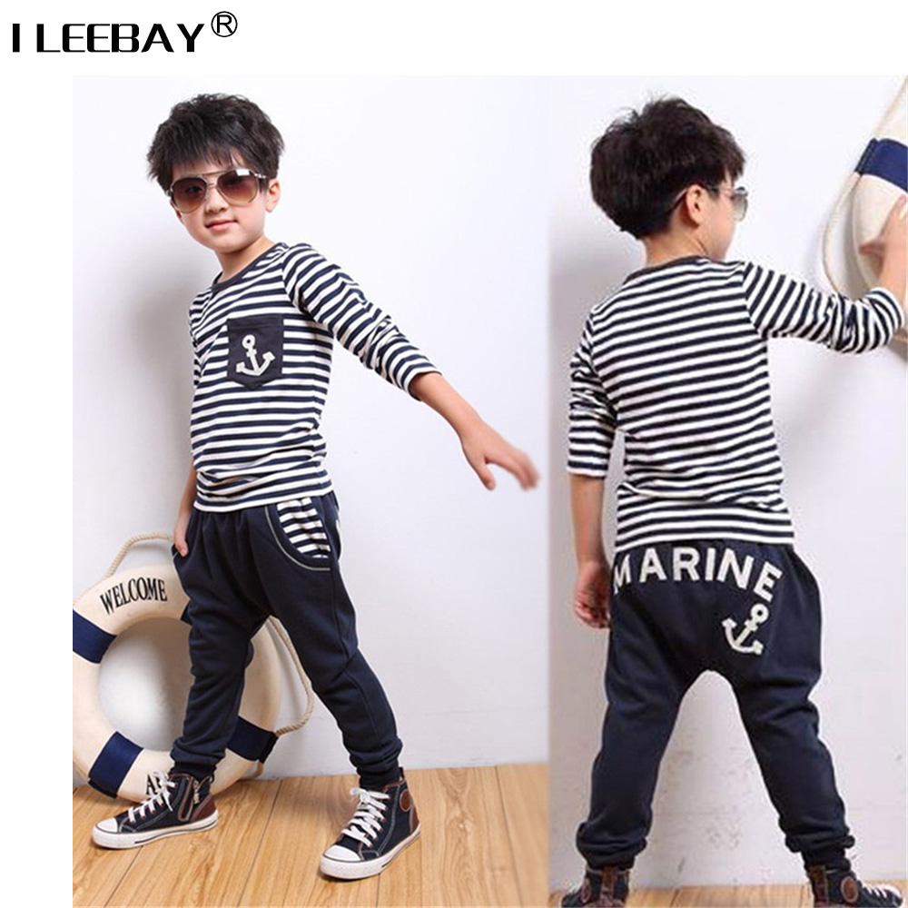 Baby Boy Clothes Toldder Boys Navy Striped Sports Clothing Sets 2Pcs Full Sleeve T-shirt+Pants Children Fashion Casual Suit 2-6Y casual kids hoodies clothes boys clothing 2pcs cotton shirt pants toddler boys clothing children suits baby boy clothes sets