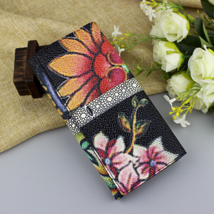 Image 2 - High Quality Genuine Leather Women Wallet Long Fashion Flower Purse Female Clutch Ladies Real Leather Wallet Big Capacity Wallet