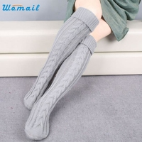 Winter Thick Women Knitted Long Boot Knee Socks Meias Calcetines Mujer Amazing New Arrival 2016
