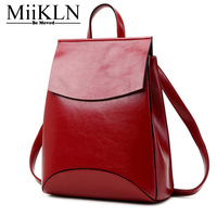 MiiKLN Backpack Women Genuine Leather Red Black Yellow Coffee Female Cow Leather Solid High Quality Girls